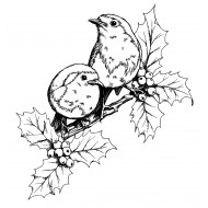 Robins in Holly Cling Rubber Stamp