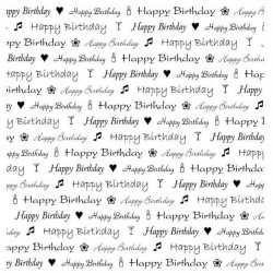 Birthday Text Square Rubber Stamp