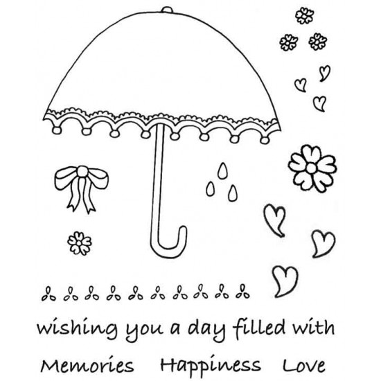 Fancy Brolly Rubber Stamp Set